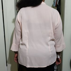 Notations Tops - Pink V-Neck 3/4 Sleeve Blouse (Size 3X)
